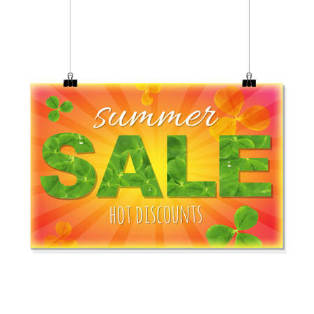 march 17: Summer Sale Banner With Leaves, With Gradient Mesh, Vector Illustration