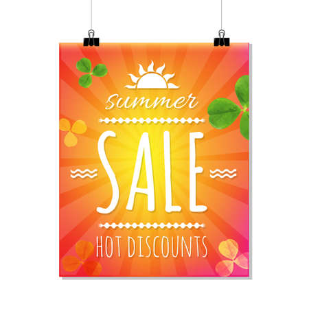 march 17: Summer Sale Banner With Sunburst, With Gradient Mesh, Vector Illustration Illustration