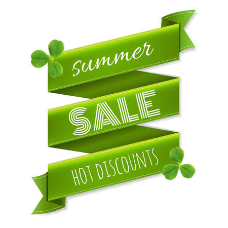 march 17: Summer Sale Ribbon Banner With Leaves, With Gradient Mesh, Vector Illustration