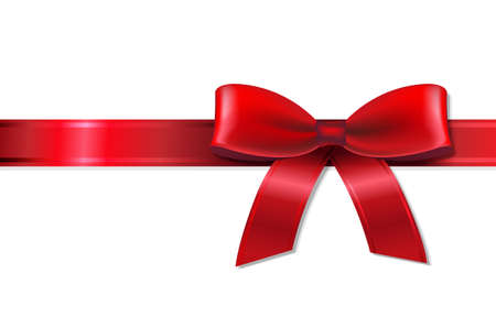 Red Bow With Ribbon, With Gradient Mesh, Vector Illustration