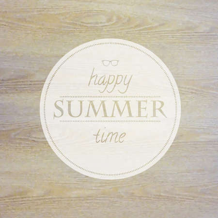 summer time: Summer Time Label With Wooden Background