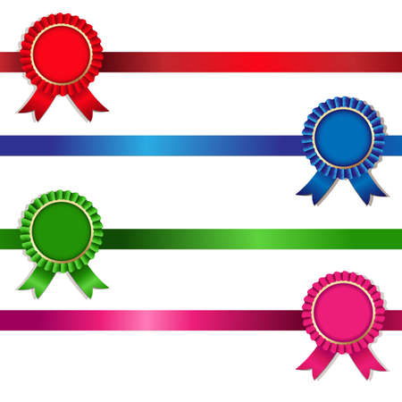 award ribbon rosette: 4 Color Rosette Illustration