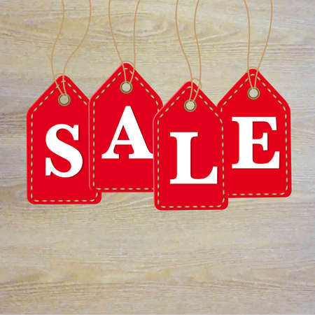 sales floor: Wooden Background With Sale Labels