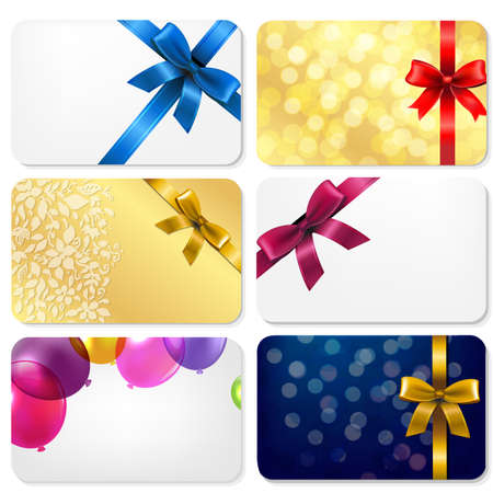 Gift Cards Big Set With Gradient Mesh, Vector Illustration