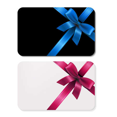blue ribbon: 2 Gift Cards, With Gradient Mesh, Vector Illustration Illustration