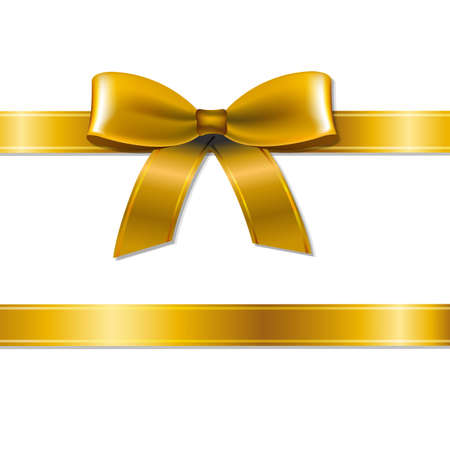 ribbons and bows: Golden Bow With Gradient Mesh, Vector Illustration Illustration