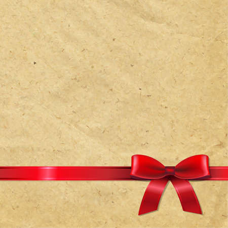 Old Paper With Red Ribbon, With Gradient Mesh, Vector Illustration