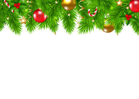 Christmas Fir Tree Border With Gradient Mesh, Vector Illustration 向量圖像