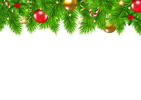 Christmas Fir Tree Border With Gradient Mesh, Vector Illustration Illustration