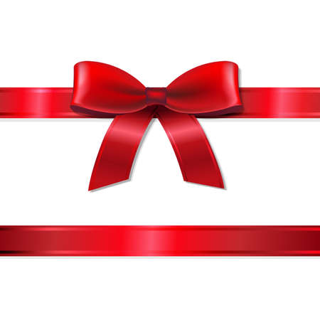 bows: Red Ribbon And Bow With Gradient Mesh, Vector Illustration