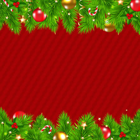 Retro Red Christmas Wall With Gradient Mesh, Vector Illustration Vector