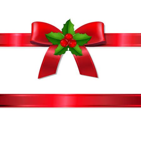 レトロなクリスマス リボン グラデーション メッシュでホリー ベリーとベクトル イラスト  イラスト・ベクター素材