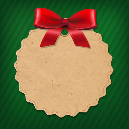 Xmas Label With Red Ribbon With Gradient Mesh, Vector Illustration Vector