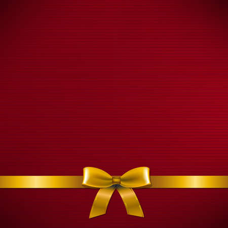 Dark Red Card With Golden Ribbon With Gradient Mesh, Vector Illustration