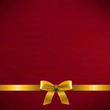 Carton rouge foncé avec ruban d'or avec un filet de dégradé, illustration vectorielle