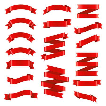 赤いリボン大きなセット、ベクトル イラスト
