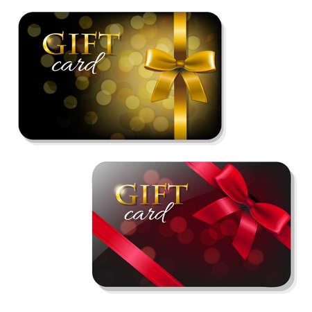 Color Gift Card Set With Gradient Mesh, Vector Illustration