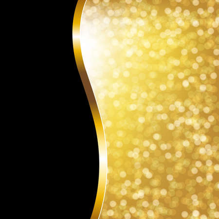 Golden Bokeh Holiday Poster With Gradient Mesh, Vector Illustration