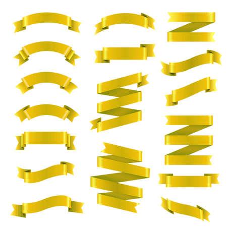 Golden Ribbon Big Set, Vector Illustration 矢量图像