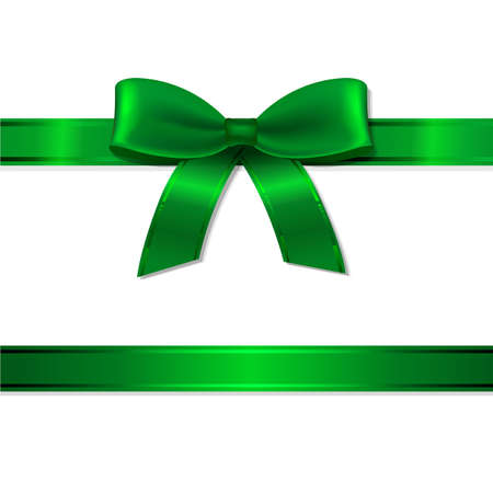 Green Ribbon And Bow With Gradient Mesh, Vector Illustration