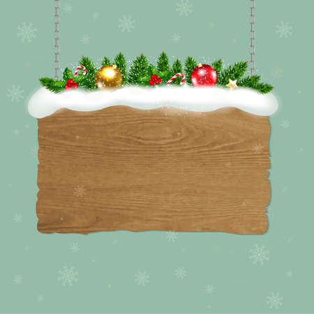 wooden vector mesh: Wooden Sign With Fir Tree With Gradient Mesh, Vector Illustration Illustration