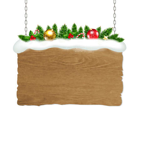 wooden vector mesh: Wooden Sign With Fir Tree And Snow With Gradient Mesh, Vector Illustration