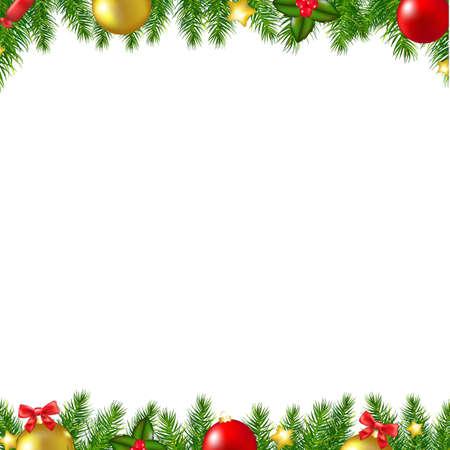 Christmas Fir Tree Borders Card With Gradient Mesh, Vector Illustration Illustration