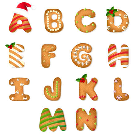 Christmas Gingerbread Cookie Alphabet With Gradient Mesh, Vector Illustration Illustration