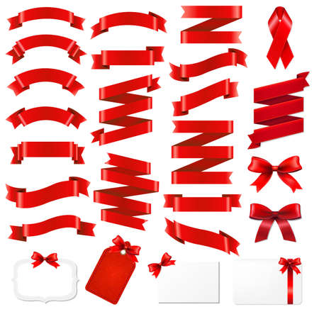 Red Ribbons Big Set With Gradient Mesh, Vector Illustration