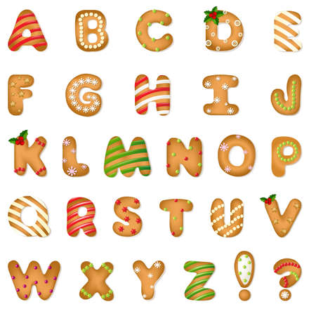 Xmas Gingerbread Cookie Alphabet With Gradient Mesh, Vector Illustration