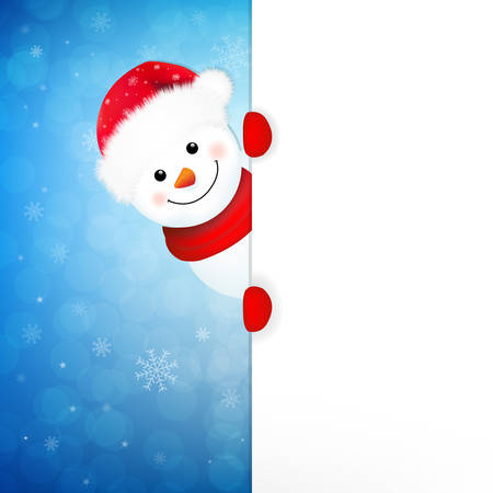 snowman vector: Xmas Snowman Banner With Gradient Mesh, Vector Illustration