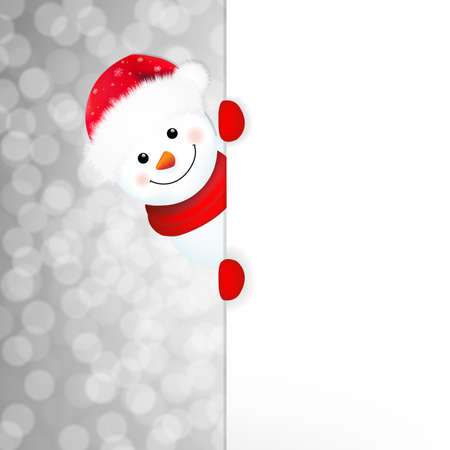 new year's cap: Xmas Snowman Poster With Gradient Mesh, Vector Illustration Illustration