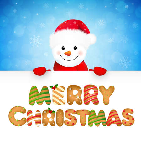 Xmas Snowman With Text With Gradient Mesh, Vector Illustration Vector