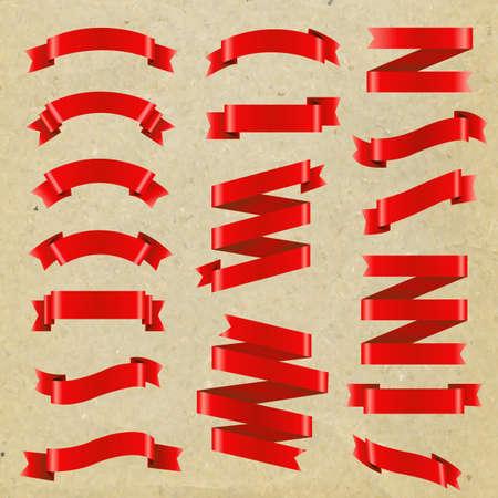 Red Ribbon Big Set, Vector Illustration
