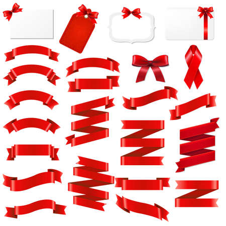 gift ribbon: Red Ribbons Origami Set With Gradient Mesh, Vector Illustration