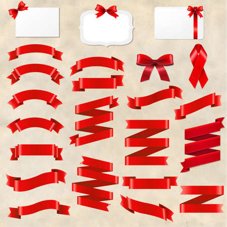 Red Ribbons Origami Set With Cardboard Background With Gradient Mesh, Vector Illustration Illustration