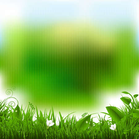 ostern: Easter Poster With Grass And Flowers With Gradient Mesh, Vector Illustration Illustration