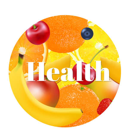 mix fruit: Fruit Health Ball With Gradient Mesh, Vector Illustration