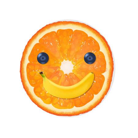 bilberry: Orange Diet Illustration With Gradient Mesh, Vector Illustration