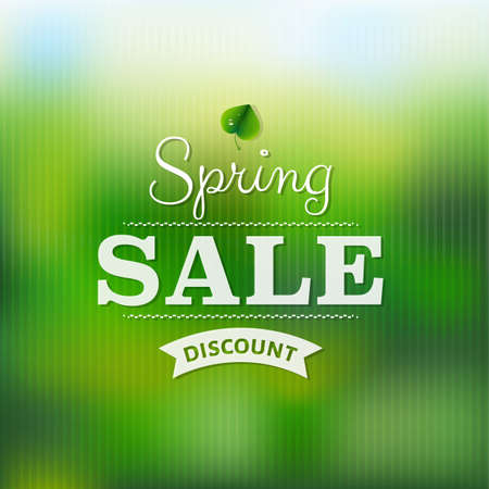 Spring Sale Poster With Blur With Gradient Mesh, Vector Illustration