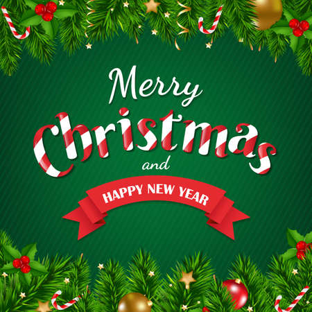 gradient mesh: Christmas Poster With Gradient Mesh, Vector Illustration