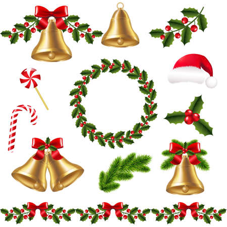 gradient mesh: Christmas Set With Gradient Mesh, Vector Illustration