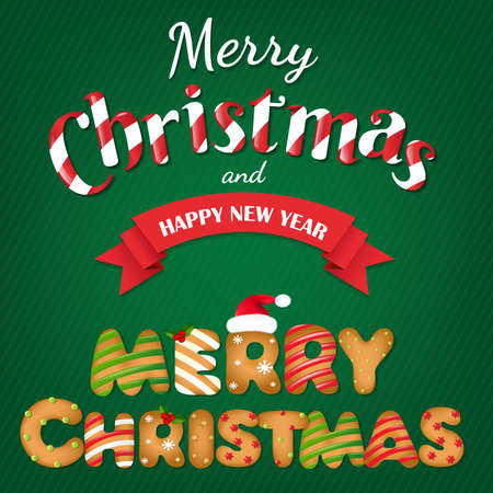 christmas fur tree: Xmas Gingerbread Cookie Text With Gradient Mesh, Vector Illustration