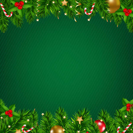 decor: Christmas Poster With Gradient Mesh, Vector Illustration