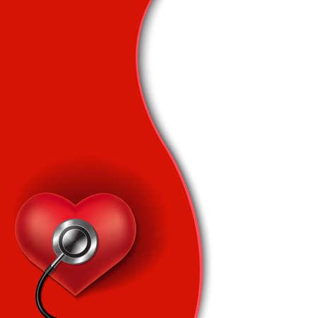 fondo rojo: Fondo del corazón rojo con malla de degradado, ilustración vectorial