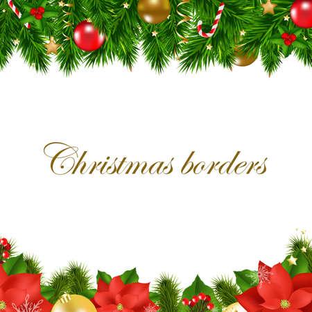 christmas fur tree: Christmas Borders With Gradient Mesh, Vector Illustration