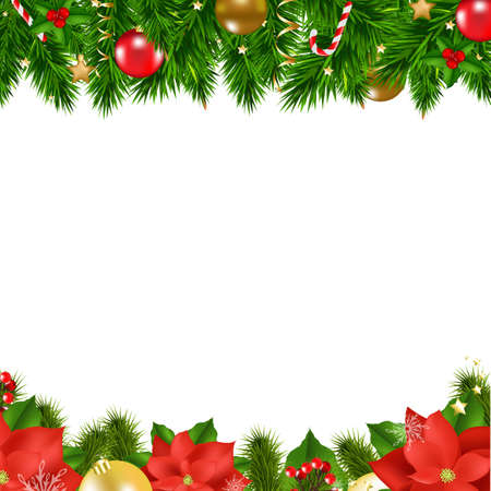 Christmas Borders With Gradient Mesh, Vector Illustration