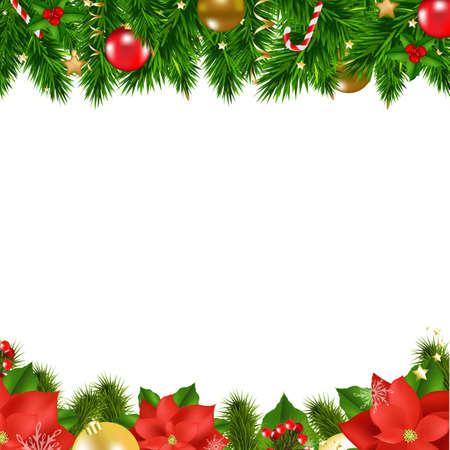 cenefas flores: Fronteras de la Navidad con malla de degradado, ilustración vectorial