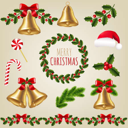 christmas fur tree: Big Christmas Set With Gradient Mesh, Vector Illustration