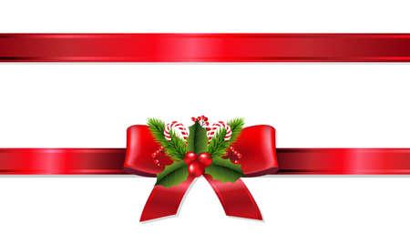 rojo: Cinta de Navidad con malla de degradado, ilustración vectorial